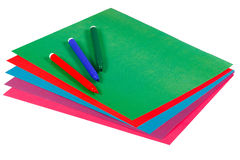 Colored paper and markers for creativity Stock Photography