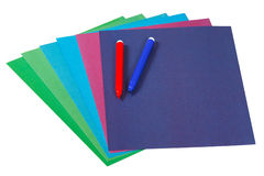Colored paper and markers for creativity Royalty Free Stock Images