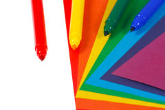Colored paper and markers for creativity Royalty Free Stock Photos