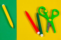 Colored paper, markers and scissors for creativity Royalty Free Stock Image