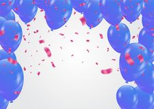Colored paper pink and blue balloons in flight isolated on a whi. Te background  eps.10 Stock Images