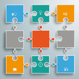 Colored Paper Puzzles Flowchart Royalty Free Stock Images