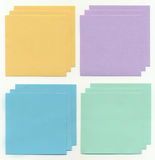 Colored paper for records. Four kinds of colored paper to record isolated on white background Stock Photos