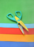 Colored paper and scissor Stock Photo