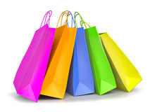 Colored paper shopping bags Stock Photos