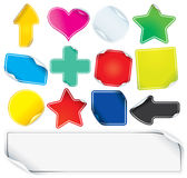 Colored Paper Stickers. Or Labels, blank vector icons for your text Stock Photo