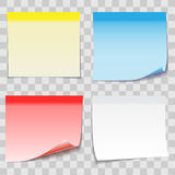 Colored Paper Sticky Note with Adhesive Tape  on transpa Stock Images