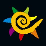 Colored paper sun. Spiral sun created with colored papers Royalty Free Stock Photography