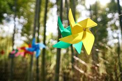 Colored paper windmill stock photos