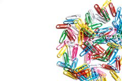 Colored paperclips Stock Photos