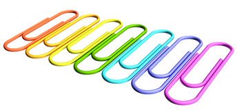 Colored paperclips diagonal perspective row Stock Photo