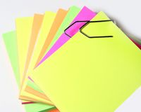 Colored papers. Bounded by a clip stock photo