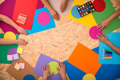 Colored papers on the floor Royalty Free Stock Photography
