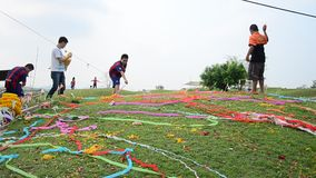 Colored papers placed and Flower on Grave in Qingming Festival stock video