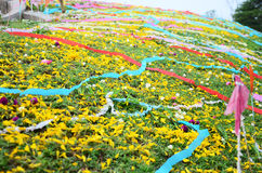 Colored papers placed on a grave during Qingming Festival. Qingming Festival is when Chinese people visit the columbarium, graves or burial grounds to pray to Stock Image