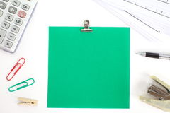 Colored papers with staple and stationery Stock Image