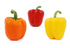 Colored paprika. Orange, yellow and red paprika isolated on white Royalty Free Stock Photos