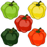 Colored paprika, background Stock Photo