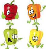 Colored paprika (pepper) cartoon isolated on a white Stock Images