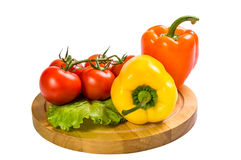 Colored paprika and tomatoes isolated Royalty Free Stock Image