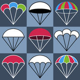 Colored Parachute Icons Set, Vector Illustration Royalty Free Stock Images