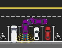 Colored parked cars parked by the road, top view. Scheme of parking a car with autonomous movement. Autopilot. Vector illustration royalty free illustration