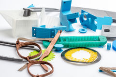 Colored parts from various materials. Digitally designed models using various cad software Stock Image