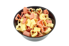 Colored pasta in form of heart Royalty Free Stock Images