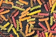 Colored pasta fusilli Royalty Free Stock Images