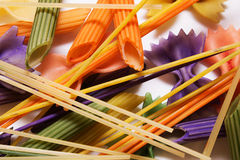 Colored pasta painted in different color brush Stock Images