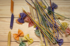 Colored pasta painted in different color brush. Cool Royalty Free Stock Photos