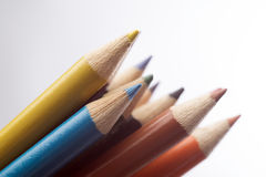 Colored pastels on white Stock Photography