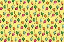 Colored pattern with balloons. Art with colored purple, green, blue and orange balloons on yellow background Stock Photo