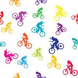 Colored pattern with bikers Royalty Free Stock Photo