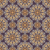 Colored pattern with decorative symmetric ornaments. Vector seamless texture Royalty Free Stock Photo