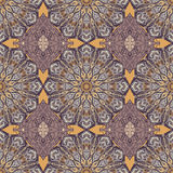 Colored pattern with decorative symmetric ornaments. Vector seamless texture Stock Image