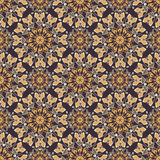 Colored pattern with decorative symmetric ornaments. Vector seamless texture Stock Photos