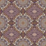 Colored pattern with decorative symmetric ornaments Royalty Free Stock Photos