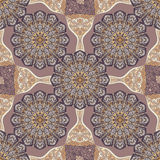 Colored pattern with decorative symmetric ornaments. Vector seamless texture Royalty Free Stock Photos