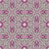 Colored pattern with decorative symmetric ornaments. Vector seamless texture Royalty Free Stock Photography