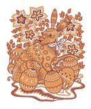 Easter bunny painted contour pattern 2. Colored pattern of Easter bunny decorated with folk ornament. Page of adult coloring book. Colorful Rabbit with Easter Stock Photos