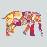 Colored pattern elephant. Vector illustration of colored elephant decorated ethnic pattern Stock Photography
