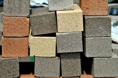 Colored pavers. Image of a Stack of colored pavers Stock Images