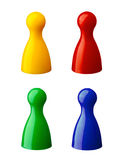 Colored pawns. 4 colored pawns isolated on white background Royalty Free Stock Photo