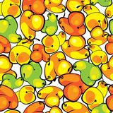 Colored pears of seamless pattern Royalty Free Stock Photos