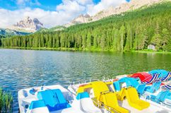 Colored pedalos on the Lake Misurina in Italy Royalty Free Stock Photo