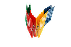 Colored pegs clips Stock Photography