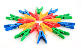 Colored pegs are located in a circle Royalty Free Stock Photography
