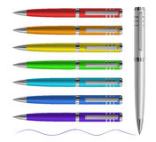 Colored pen. Set of colored pens. Vector, EPS10 Royalty Free Stock Photography