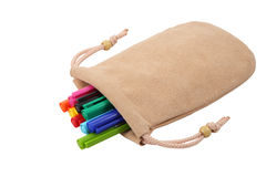 Colored pen in the bag. On white blackground Royalty Free Stock Images